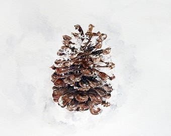 Pine Cone Print- From Watercolor Painting- Brown Cone, White Snow- Rustic, Winter, Fall- FIne Art- Botanic Illustration