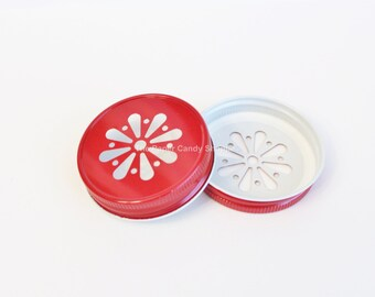 Mason Jar Lids, Red Daisy Lids, Colored Mason Jar Lids, Vintage Wedding Table Setting, Plastic Mason Jar Lids, Baby Shower, Kids Birthday
