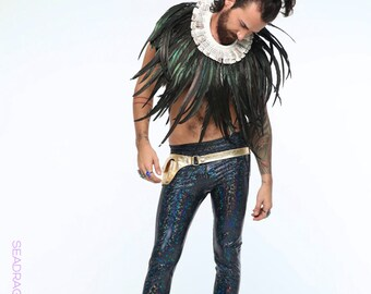 Mens White Feather Collar Mens Burning Man Outfit Festival