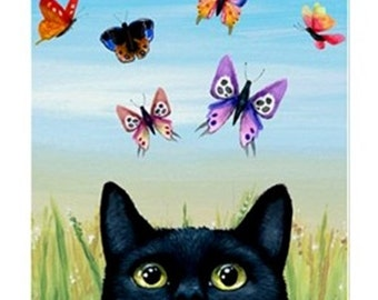 Fridge Magnet Print ACEO from my original painting black Cat 606 Butterfly by Lucie Dumas