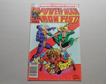 Luke Cage, Power Man #84; Heroes for Hire; 4th Sabretooth; Cage vs Sabretooth; Iron Fist Vs Constrictor ; Netflix Defenders; Key Comic Book!