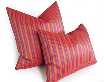 Red Purple Pillow, Throw Pillows, Striped Pillows, Decorative Pillow Cover, Red Cushion, Iridescen, Red Orange Purple, Boho Chic Decor