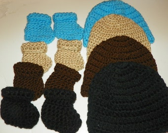 Baby Hat and Bootie Sets 4 Sets   Sizes Preemie-24 Months  Perfect for a Baby Gift.