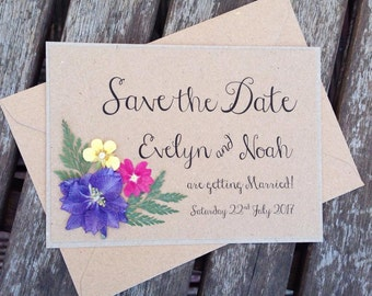 Floral Save the date Wedding Invitation. Boho Rustic invites with real pressed flowers on Kraft card