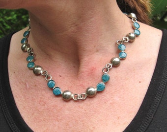 Reversible Turquoise and Onyx and Silver Toned Necklace