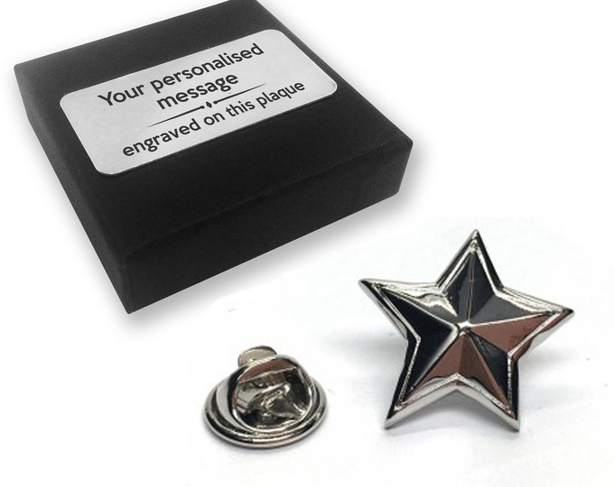 Star, teacher, starry, lapel pin badge, tie pin, brooch accessory, boutonniere - personalised engraved gift box - 558
