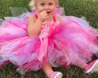 Flower Girl Dress - Tutu Dress - Tulle Dress - Pink Tutu Dress - Infant/Toddler Dress - Pageant Dress - Princess Dress - Dance- Pink