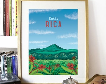 Costa Rica Watercolor Skyline, Costa Rica Skyline, Costa Rica Art, Costa Rica Poster, Costa Rica Print, Costa Rica Art, Costa Rica Map