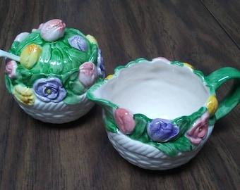 Tulip & Rose SUGAR CREAMER,Mary Ann Baker, Otigiri Japan,ceramic