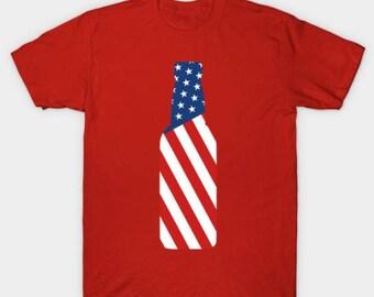 United States Flag Beer Bottle USA Flag T-Shirt