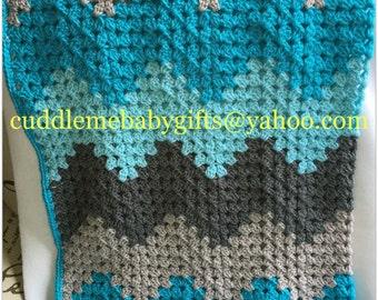 Crochet Blanket-Crochet Baby Blanket-Handmade Crochet Baby Blanket-Baby Blanket-Ombre Baby Blanket-Neutral Baby Gift-Neutral Baby Blanket