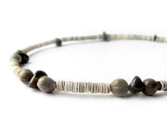 Men's necklace - shell necklace for men - Black Sands