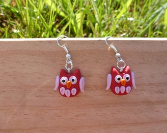 Earrings kids owl, red birds, red OWL earrings, animal earrings