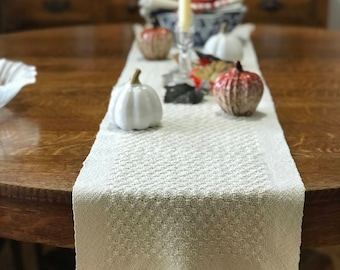 Handwoven Table Runner - Lace Table Runner - Huck Lace Rustic Decor Farmhouse Decor Home Decor Farmhouse Table Runner - Summer Home Decor