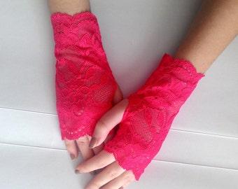 Pink lace Gloves, Pink Fingerless Gloves, Hot Red Pink mittens Lace Fingerless Wedding Gloves