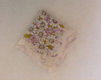Vintage Handkerchief - White Daisies and Lavender