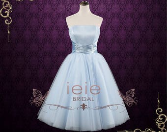 Light Blue Retro 50s Strapless Tea Length Prom Formal Dress | Emmie