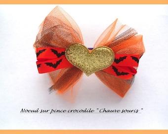 Hair clip, knot barrette, original, on elastic purple, satin ribbon bat and black tulle orange