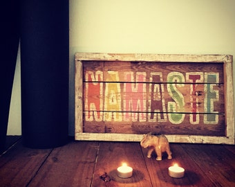 Namaste, Handmade Original Artwork, Reclaimed wooden wall art, Rustic sign, Yoga wood art
