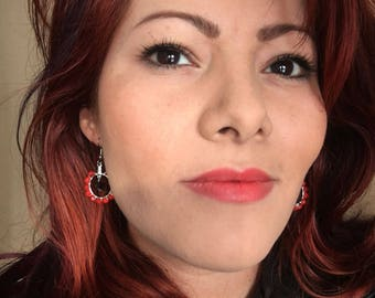 Bright Glowing Red Czech Glass Hoop Earrings with Black Swarovski bead center on Surgical Steel Fish hook ear wires