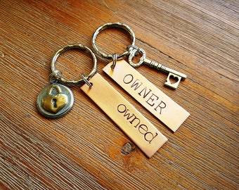 Owned and Owner Keychain Set BDSM ddlg Master slave Dom sub Sir kitten jewelry keyring
