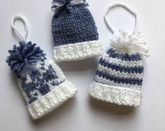Hand Knitted Miniature Bobble Hat Christmas Tree Decorations, Egg Cosy