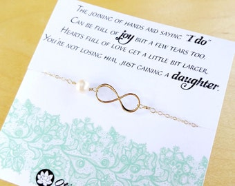 Mother of the groom gift, gift from bride to mother in law, wedding gift for mother of the groom, infinity bracelet, meaningful card, otis b