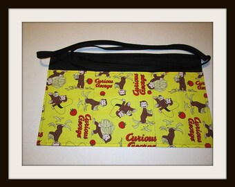 Curious  George Apron,Monkey pocket apron,teacher aprons, teacher gifts,pocket teacher apron,customize aprons,printed aprons