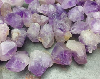 12 pc Amethyst Semi Precious Chunky, Rough Cut Crystals, 8 Inch