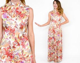 70s Floral Maxi Dress   Orange Coral Print Long Summer Dress  