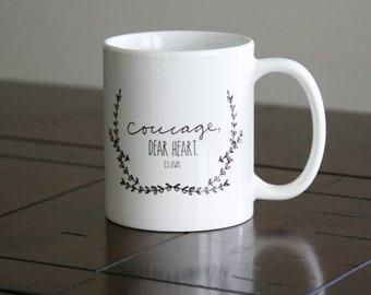 Coffee Mug - Courage Dear Heart - C S Lewis Quote - 11oz and 15oz Ceramic Mug - Black and White - Gift Mug - Inspirational Coffee Cup - Mode