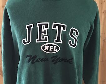 Rare Vintage New York Jets Script Knit Sweater - NFL Football Sweatshirt Logo 7, Inc Size Medium