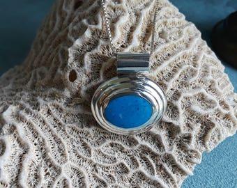 Sterling silver denim lapiz pendant with chain