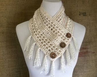 Crochet cowl shawl scarf soft with fringe and buttons off white cream ivory