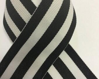 "1.5"" BLACK & WHITE Grosgrain Mono Stripe Ribbon - Black and White Stripes - Offray - Thick Stripes"