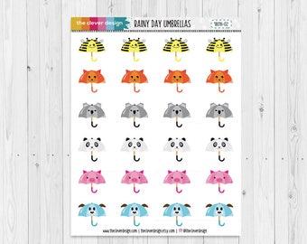 Rainy Day Umbrellas | Kawaii Umbrellas | Planner Stickers | 18016-03