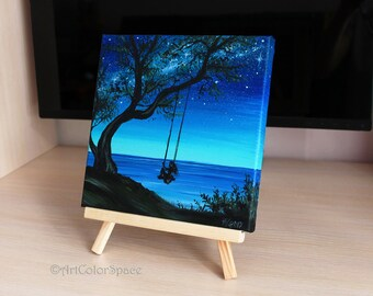 Small painting Girl On Tree Swing art Summer day Oil painting on canvas Night sky Milky Way Landscape painting Girl on swing
