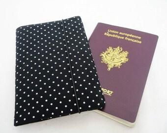 Passport black polka dot, fabric Passport case, passport woman