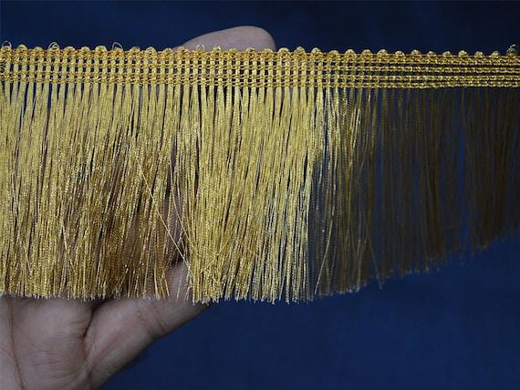 2 Yard Metallic Gold Fringe Home Decor Indian Trims Gold
