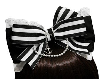 Black and White Nautical Sailor Bow Headband - Made to Order