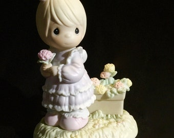 """Precious Moments """"So Glad I Picked You As A Friend"""" - Girl Holding Flower, Basket Of Picked Flowers At Her Feet"""