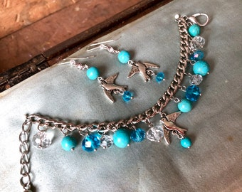Jewelry set with turquoise and bird elements