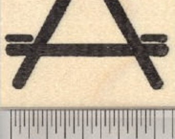 Picnic Table Symbol Rubber Stamp D27313 Wood Mounted
