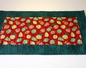 Quilted Christmas Table Runner, Christmas Ornaments Table Runner, Quiltsy Handmade