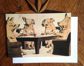 The Card Players. Vintage Pig Illustration Greeting Card.