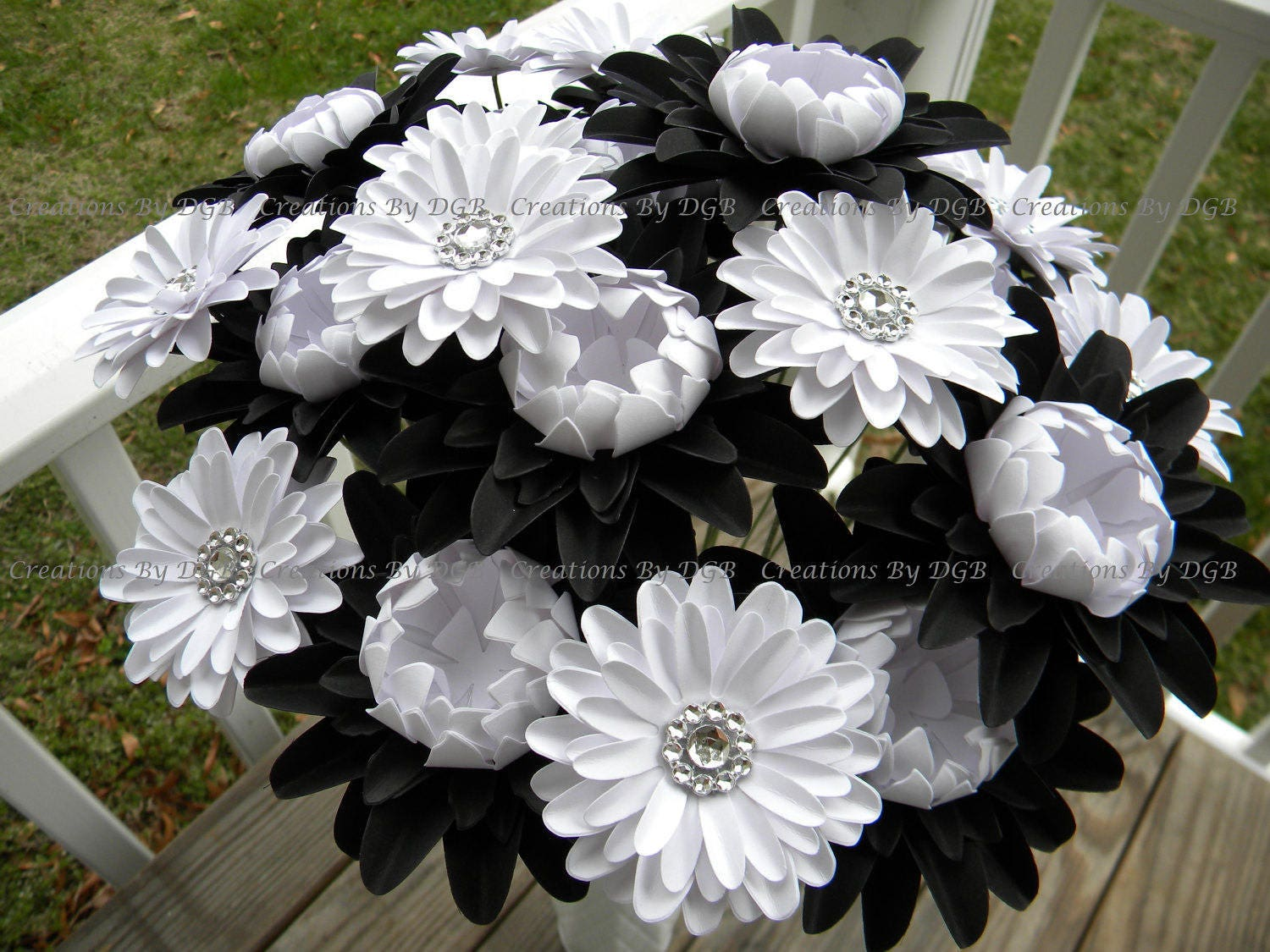 Black And White Theme Wedding Paper Flowers Black And White
