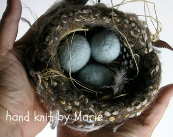 HAND-M A D E. Wool Knitted & Felted Bird Nest and Eggs for You. An Empty Nester? An Egg for each Child. Empty Nest or Not.