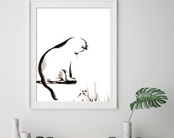 Cat Minimalist Art Print, Black and white cat watercolor painting art, cat art, cat wall art print. modern minimalist print of cat