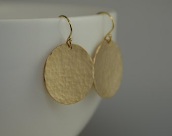 """Hammered Disc Earring. Hammered Circle Earrings. Gold filled Hammered 7/8"""" Disc Earrings."""