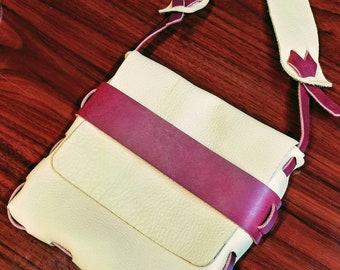 Handmade tan and burgundy leather bag